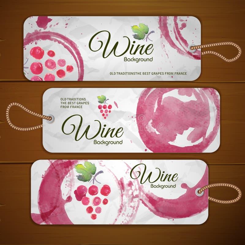 Druiven of Wijnconceptontwerp Reeks stickers vector illustratie