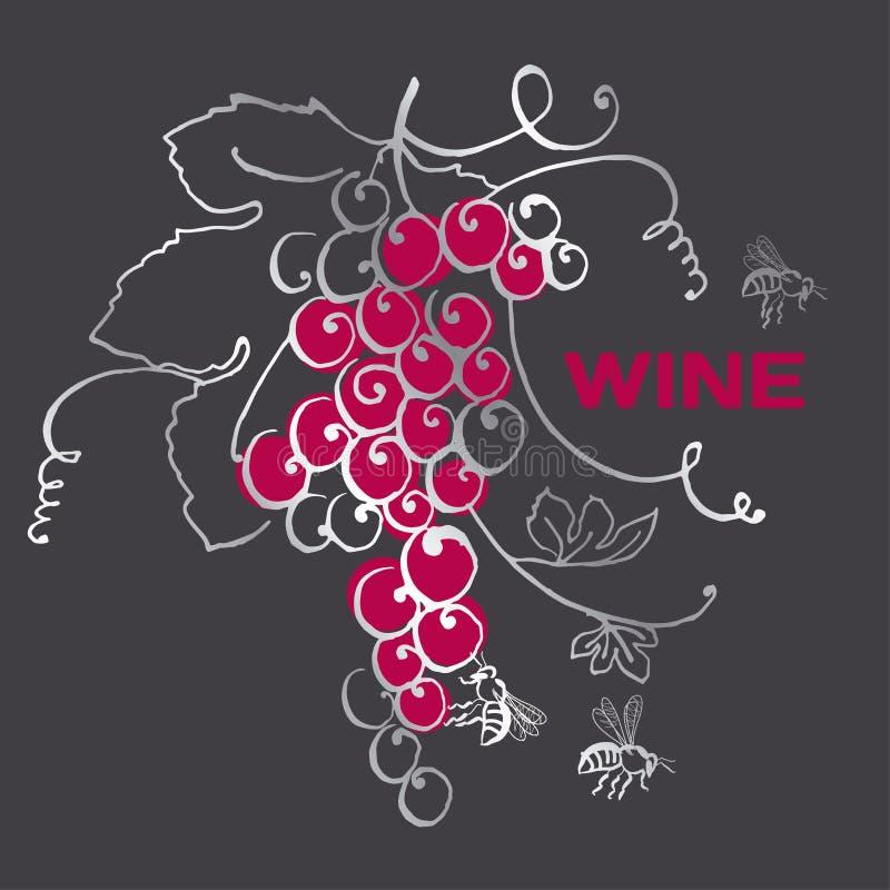 Druivenbos voor wijnetiket stock illustratie