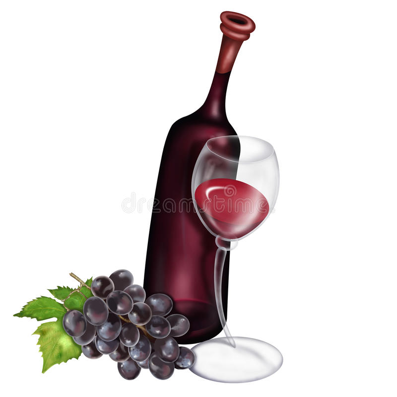 Druivenwijn en Wijnglasillustratie royalty-vrije stock foto's