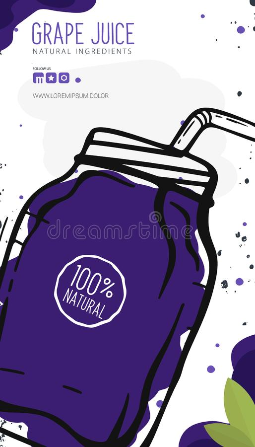 Druivesap in een glas Banner smoothies, limonade, vers, detox in schetsstijl stock illustratie