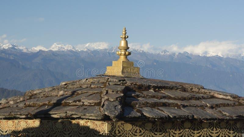 Druk在Dochula通行证的Wangyal Chortens 不丹王国 免版税库存照片