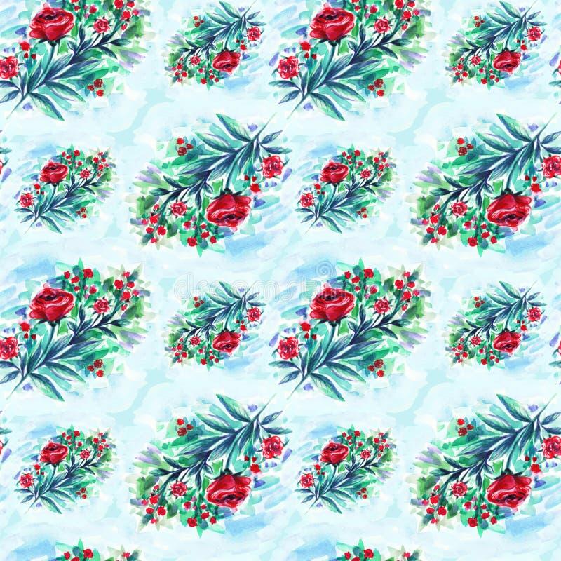 Druk akwareli róże Tło Akwarela rysunek bezszwowy wzoru obrazy royalty free