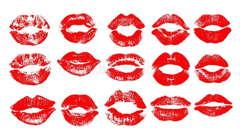 Druk czerwone wargi Wektorowa ilustracja na białym tle EPS ilustracji