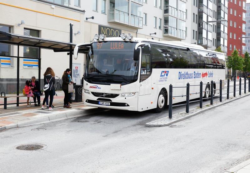 Druk de busdienst in Boden uit stock afbeeldingen