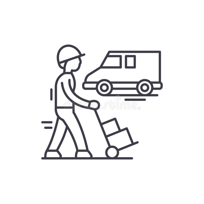Druk het pictogramconcept uit van de logistieklijn Druk logistiek vector lineaire illustratie, symbool, teken uit stock illustratie