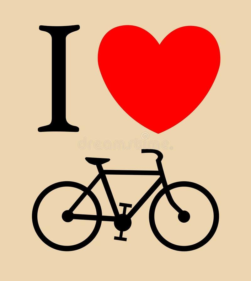 Druk houd ik van fiets, vectorillustratieachtergrond royalty-vrije illustratie