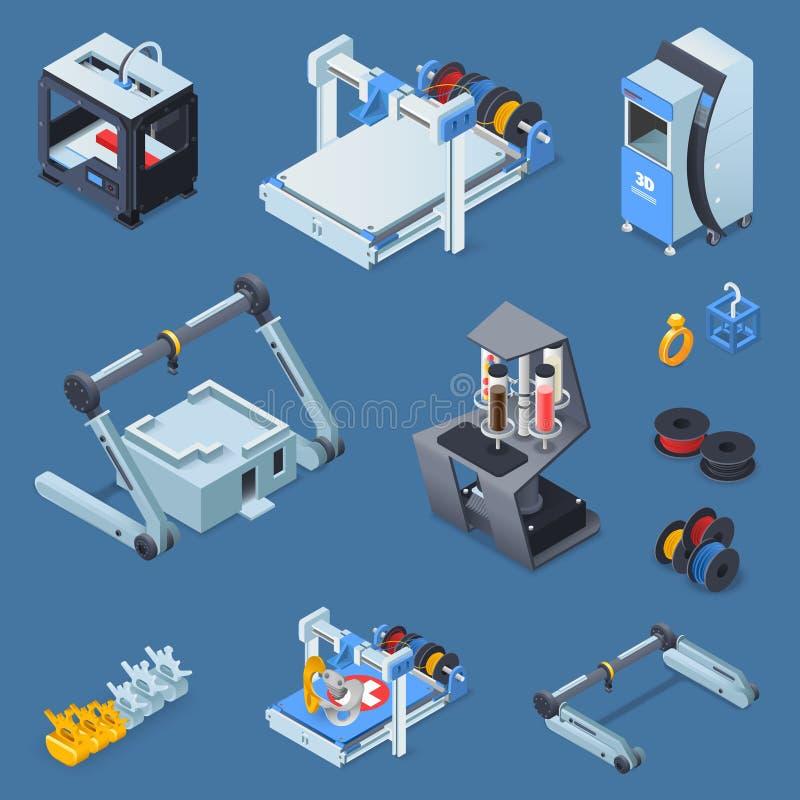 Druk Isometrische Reeks stock illustratie