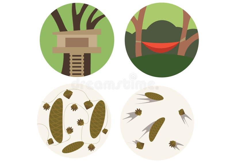 Druk kreskówki doodle koloru garbki ustawiają lasu jucznego drzewa robić latu dom zdjęcie stock