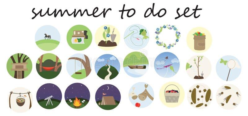 Druk kreskówki doodle koloru płaski lato robić lista setowi ilustracja wektor