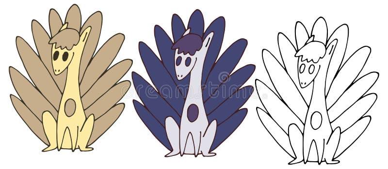 Druk kreskówki ogonu potwory doodle kolor ręki ustalonego remisu szczęśliwy śmiesznego zdjęcie stock