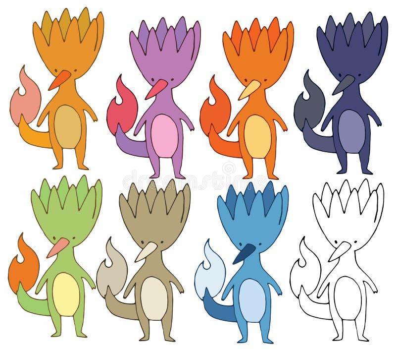 Druk kreskówki potwora pożarniczego śmiesznego koloru ręki ustalony remis ilustracja wektor