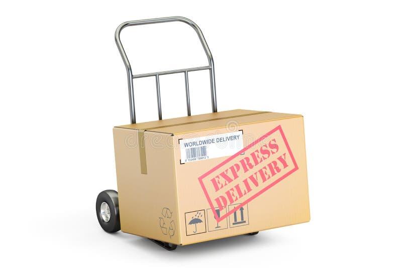 Druk leveringsconcept uit De kartondoos op 3D handvrachtwagen, geeft terug stock illustratie