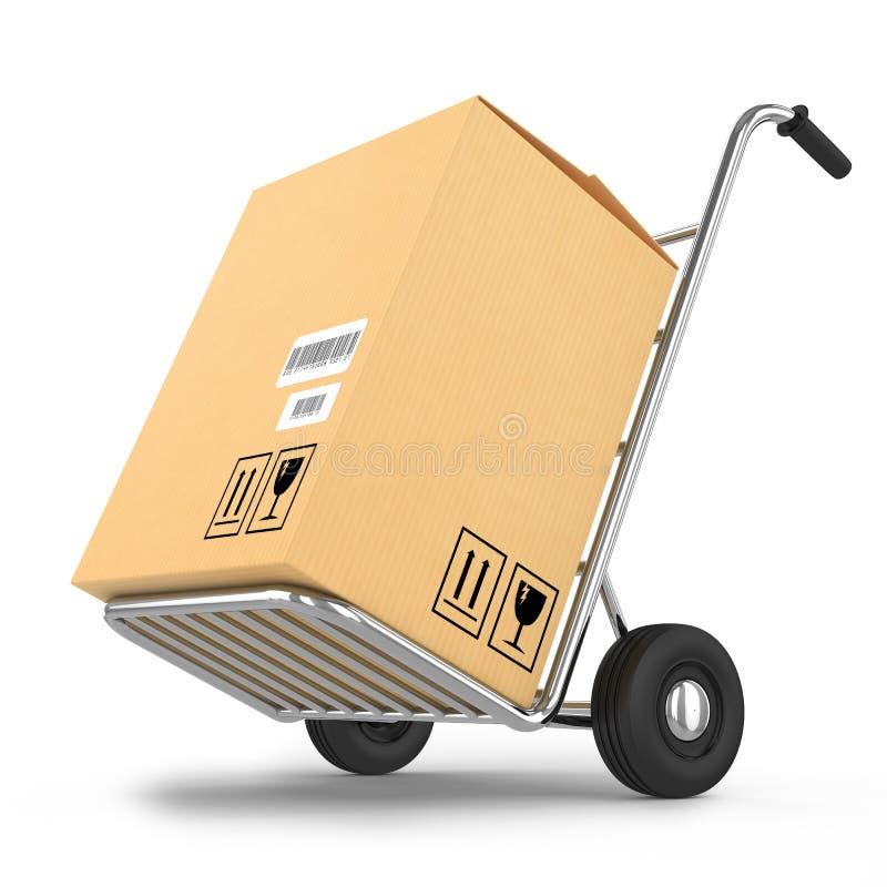 Druk leveringspakket op een kar uit stock illustratie