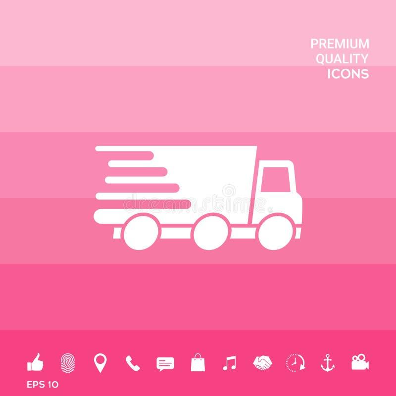 Druk leveringspictogram uit Leveringsauto vector illustratie
