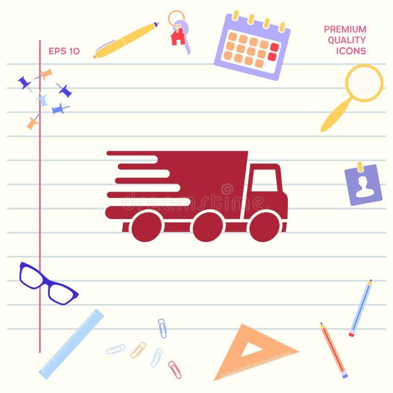 Druk leveringspictogram uit Leveringsauto stock illustratie