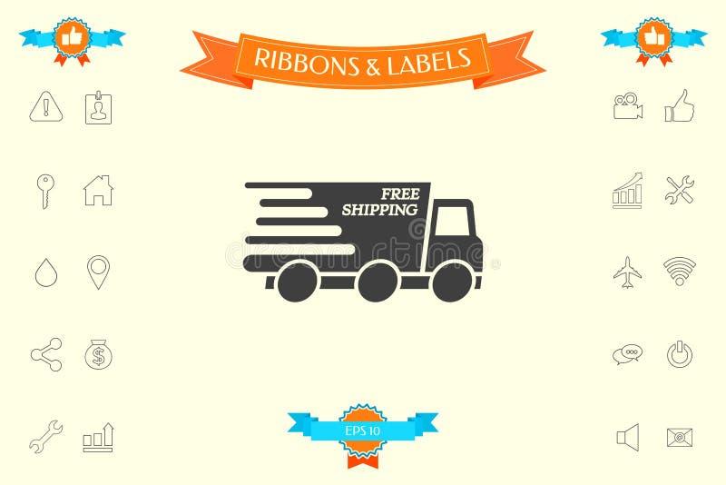 Druk leveringspictogram uit Leveringsauto met inschrijving het Vrije verschepen vector illustratie