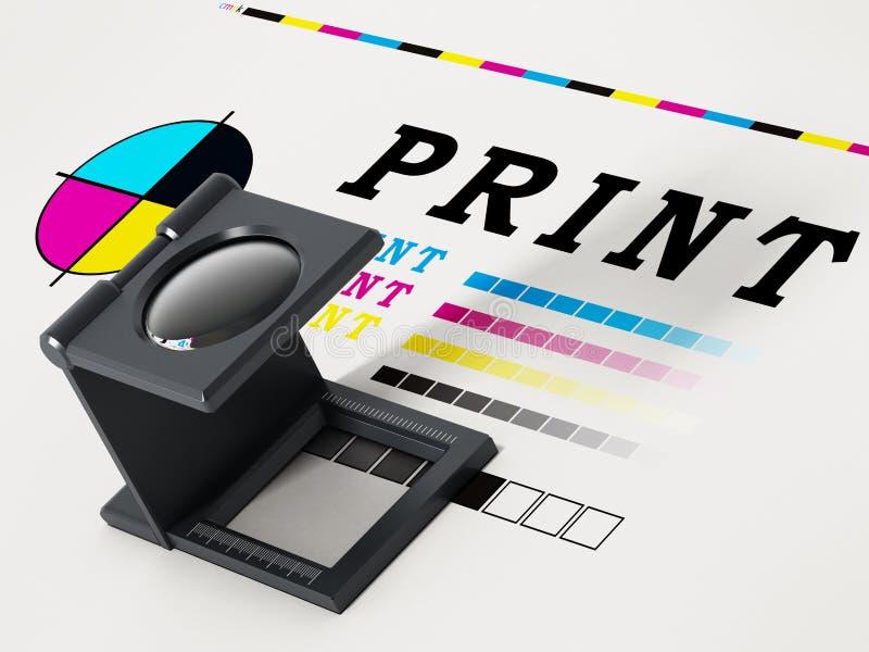 Druk loupe status op kleurenproefwerk 3D Illustratie royalty-vrije illustratie