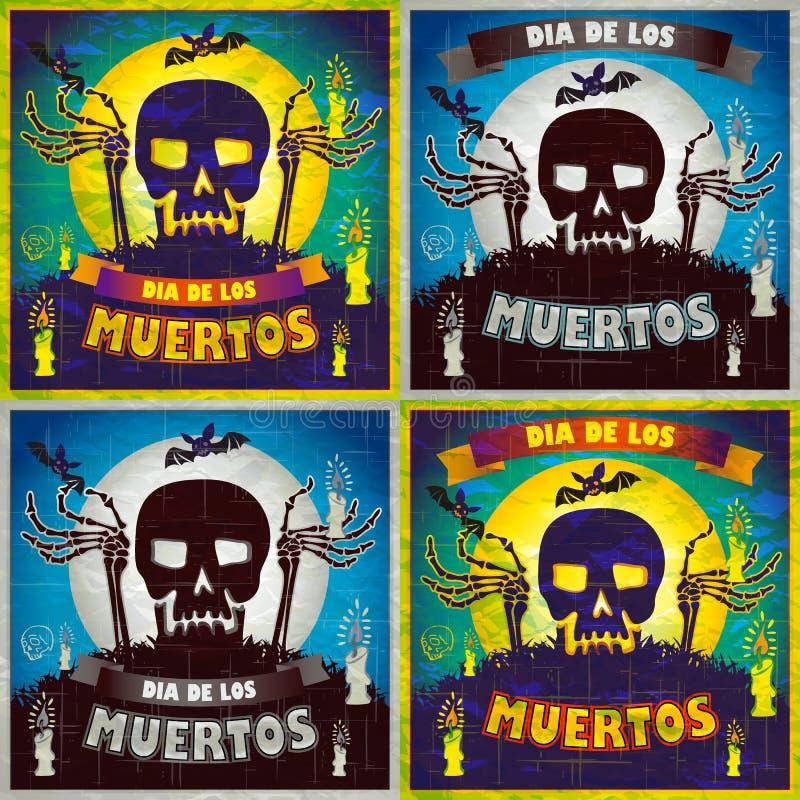 Druk - meksykański cukrowy czaszki i serca set, dzień nieżywy plakat royalty ilustracja