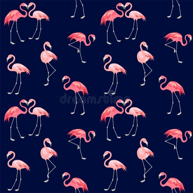 Druk met abstracte leuke roze mooie flamingo royalty-vrije illustratie