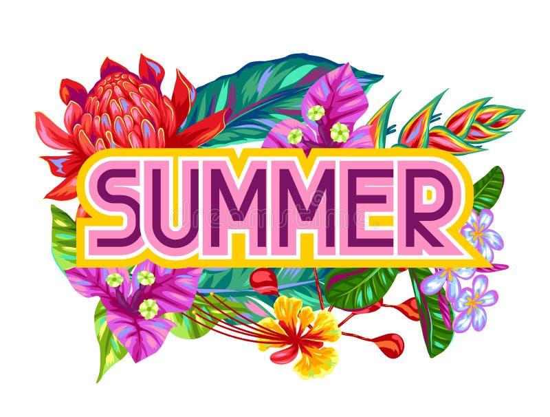 Druk met de bloemen van Thailand Tropische veelkleurige installaties, bladeren en knoppen royalty-vrije illustratie