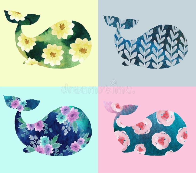Druk met walvissen stock illustratie