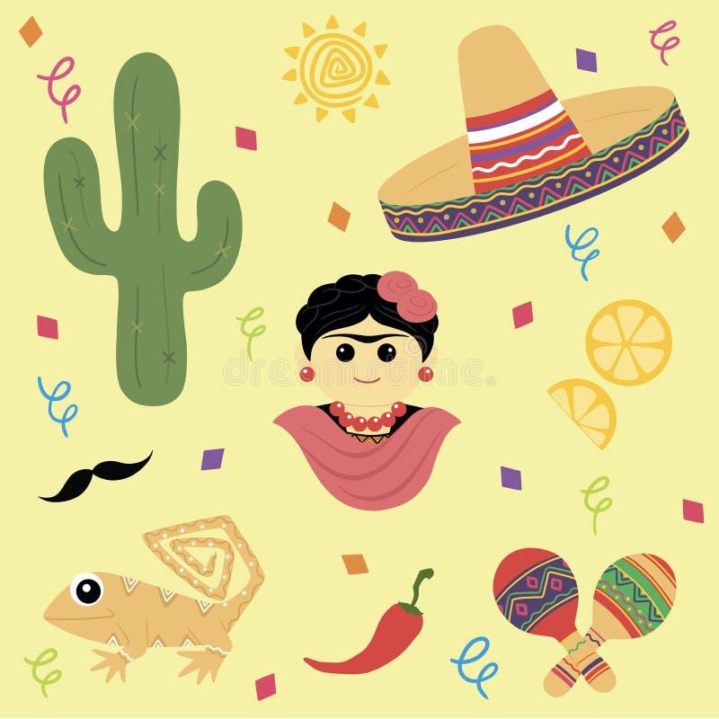 Druk Mexico Frida Kahlo, kaktus, cytryny, gorący pieprz, gorący słońce, marakasy, kapelusz, piasek jaszczurka, wąsy, cukiere royalty ilustracja