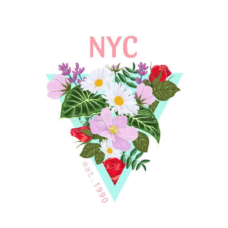 Druk op een t-shirt met een driehoek van bloemen en bladeren en de inschrijving NYC royalty-vrije illustratie