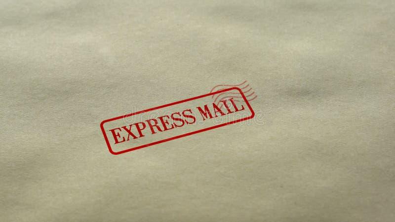 Druk Postverbinding uit op lege document achtergrond, de snelle leveringsdienst wordt gestempeld die royalty-vrije stock afbeeldingen