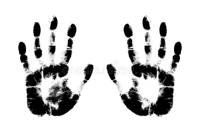 Druk ręka istota ludzka, śliczny skóry tekstury wzór, wektorowa grunge ilustracja Skanować palce, lewy i prawy palma na białym b royalty ilustracja