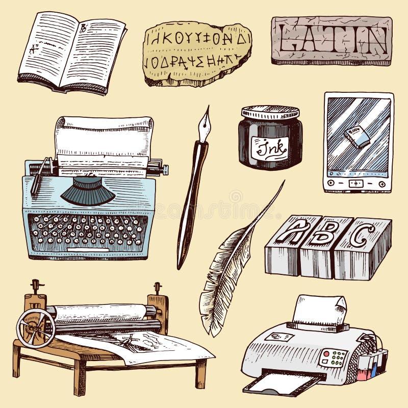 Druk typografii autora domu wydawniczego historii maszyna do pisania pracy książek przemysłu pisarska wektorowa ręka rysujący nar ilustracji