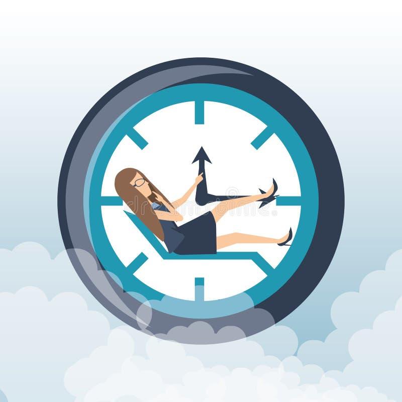 Druk van de bedrijfsvrouwen de harde werktijd vector illustratie
