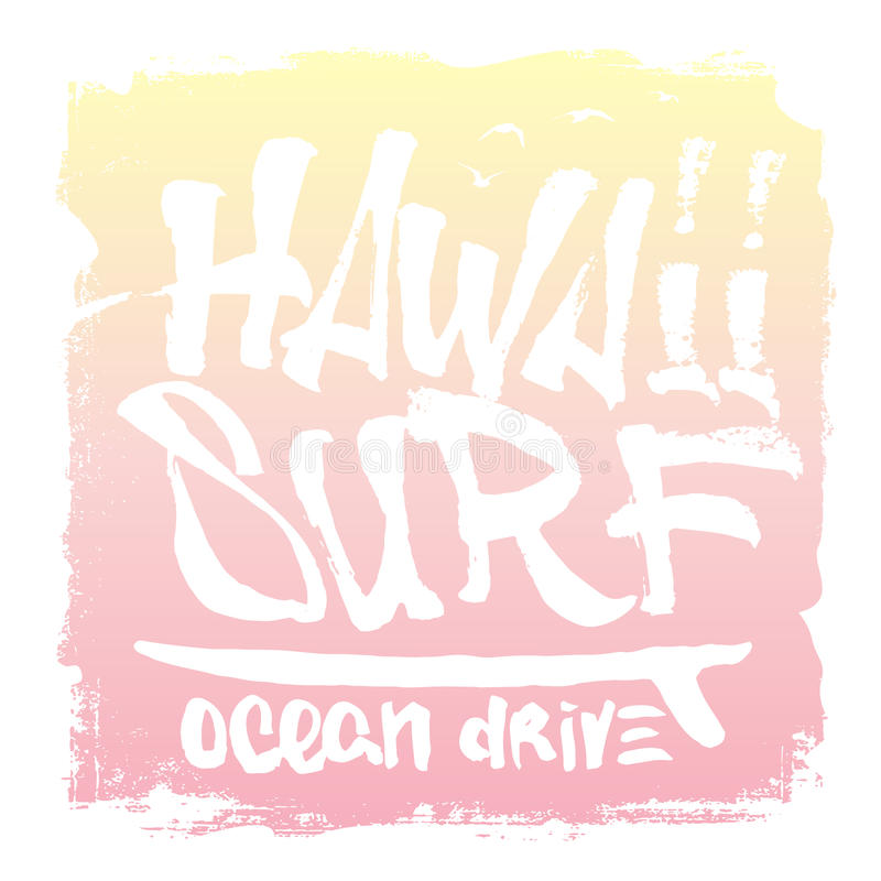 Druk van de de hand de van letters voorziende branding van Hawaï, T-stukdruk Vector illustratie royalty-vrije illustratie