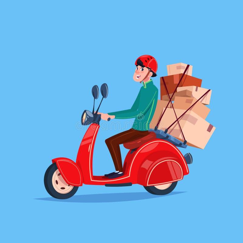 Druk van de het Pictogramkoerier van de Leveringsdienst de Fiets van Boy Riding Motor met Dozen uit vector illustratie