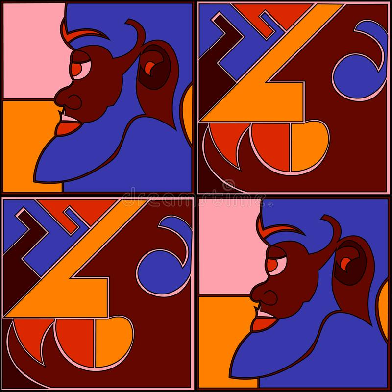 Druk van de Ikat de stammenkunst Afrikaans patroon stock illustratie