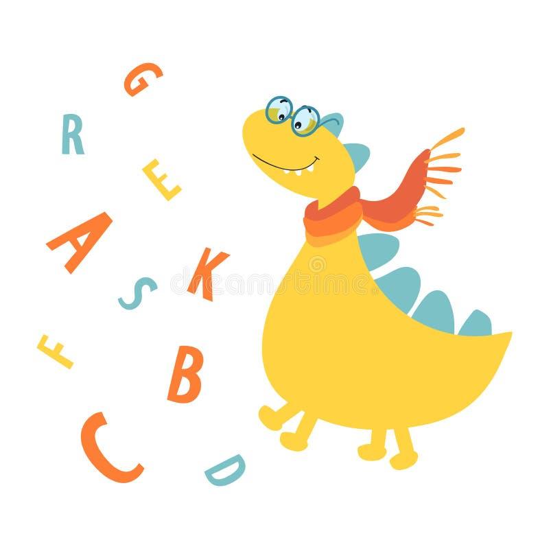 Druk van de kaarten van kinderen, Herinneringen, de manier van kinderen Vector illustratie De dinosauruswetenschapper met glazen  royalty-vrije illustratie