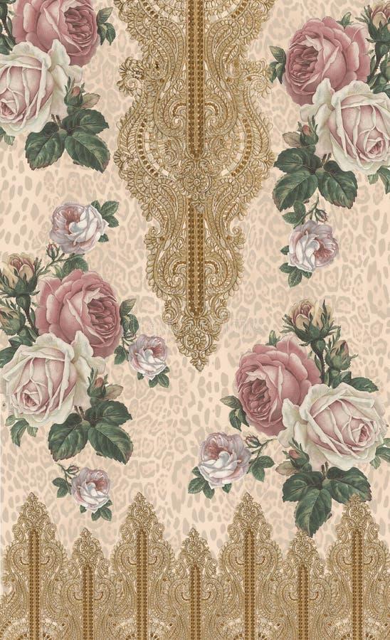 Druk van het de kleuren gouden ontwerp van de bloemen de dierlijke druk stock afbeelding