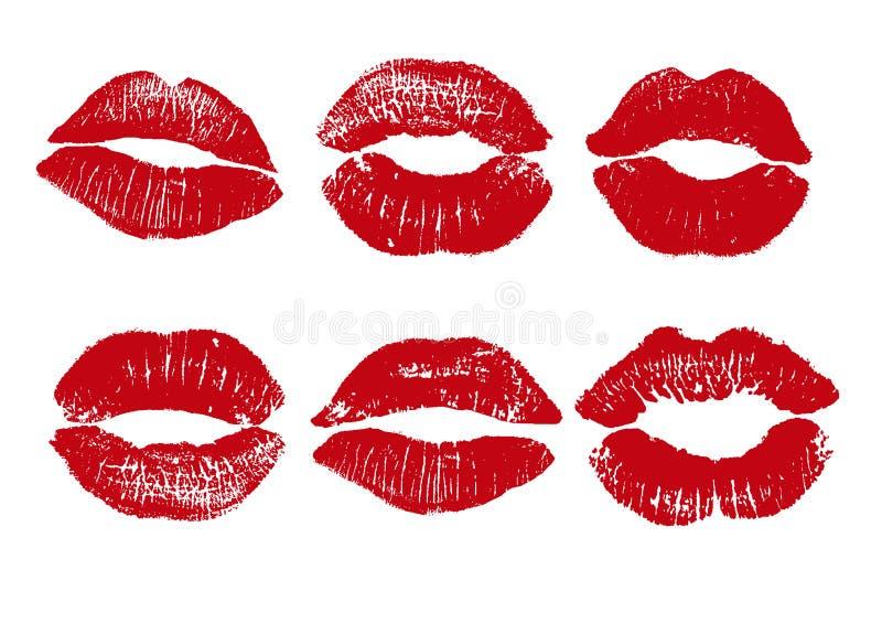 Druk van rode lippen Vectorillustratie op een witte achtergrond EPS stock illustratie