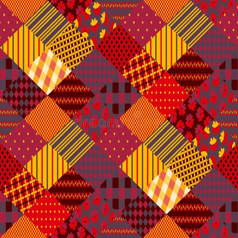 Druk voor stof Lapwerk in warme de herfstkleuren Etnisch boho naadloos patroon vector illustratie