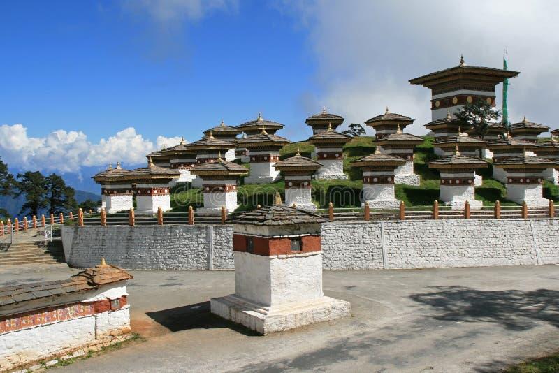 Druk Wangyal Chortens在廷布(不丹)附近被修造了 库存照片