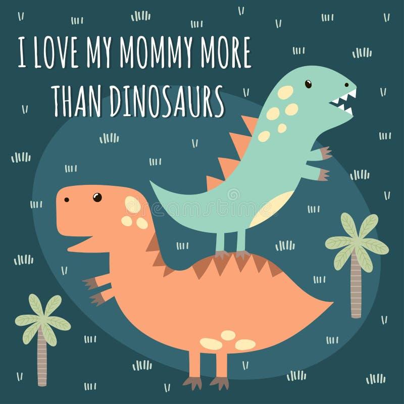 Druk z ślicznymi dinosaurami ilustracji