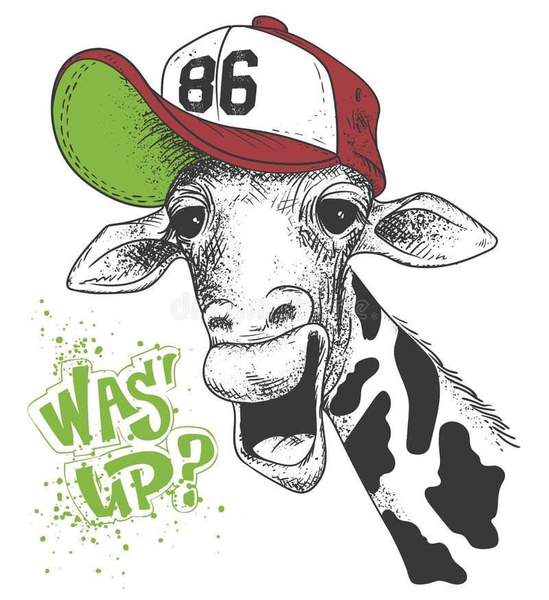 Druk z żyrafa wizerunkami i tekstem, grunge skutek, koszulka projekt ilustracja wektor