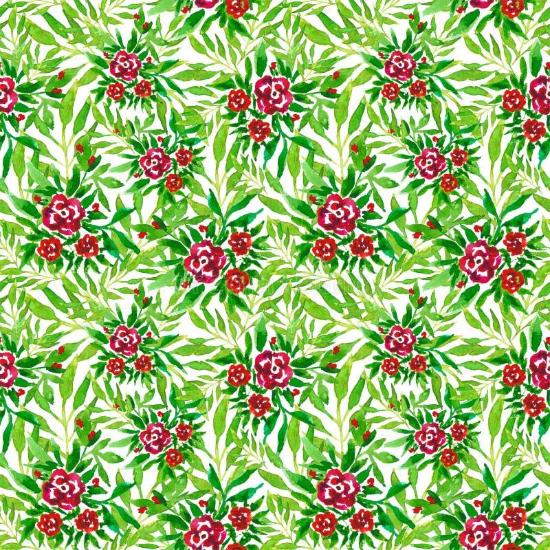 Druk z akwareli różami i zieleń liśćmi bezszwowy kwiecisty wzoru ilustracji