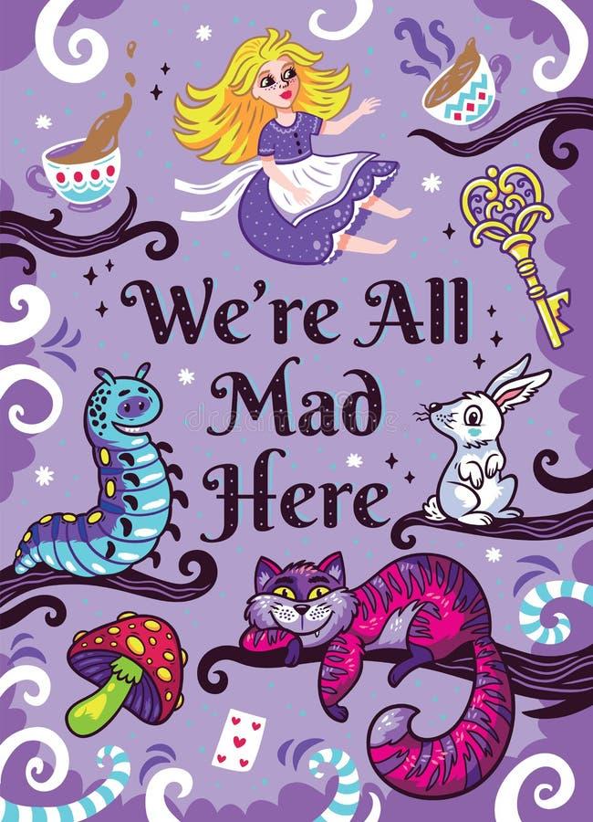 Druk z charakterami od Alice w krainie cudów ilustracja wektor
