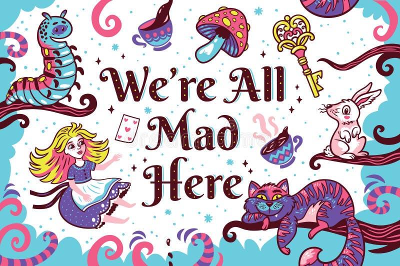 Druk z charakterami od Alice w krainie cudów ilustracji