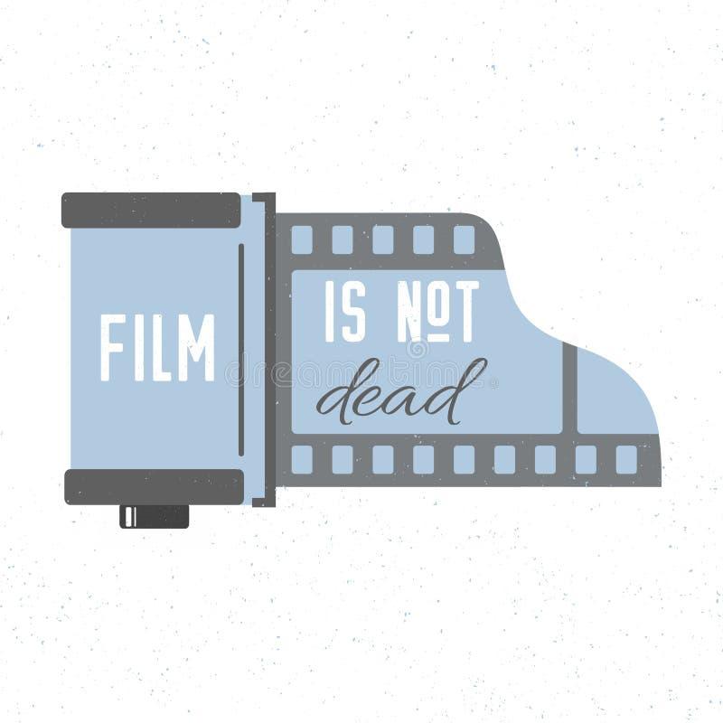 Druk z fotograficznego filmu kasety ikoną Film no jest nieżywy Wektorowa modna ilustracja royalty ilustracja