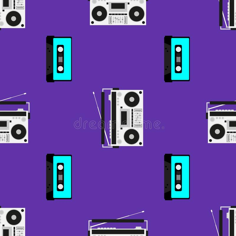 Druk z starymi taśma pisakami, kasetami i Muzykalny bezszwowy wz?r r?wnie? zwr?ci? corel ilustracji wektora royalty ilustracja