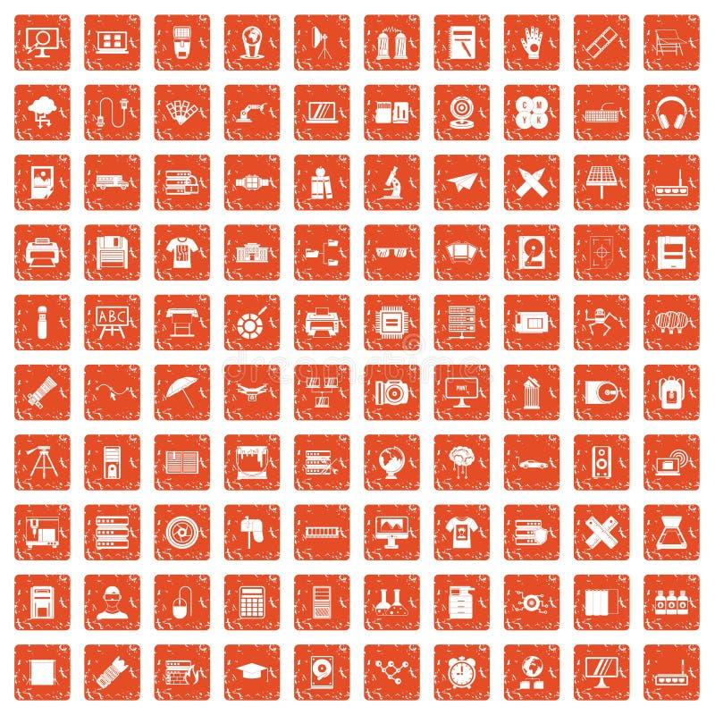 100 drukarek ikon ustawiają grunge pomarańcze ilustracji