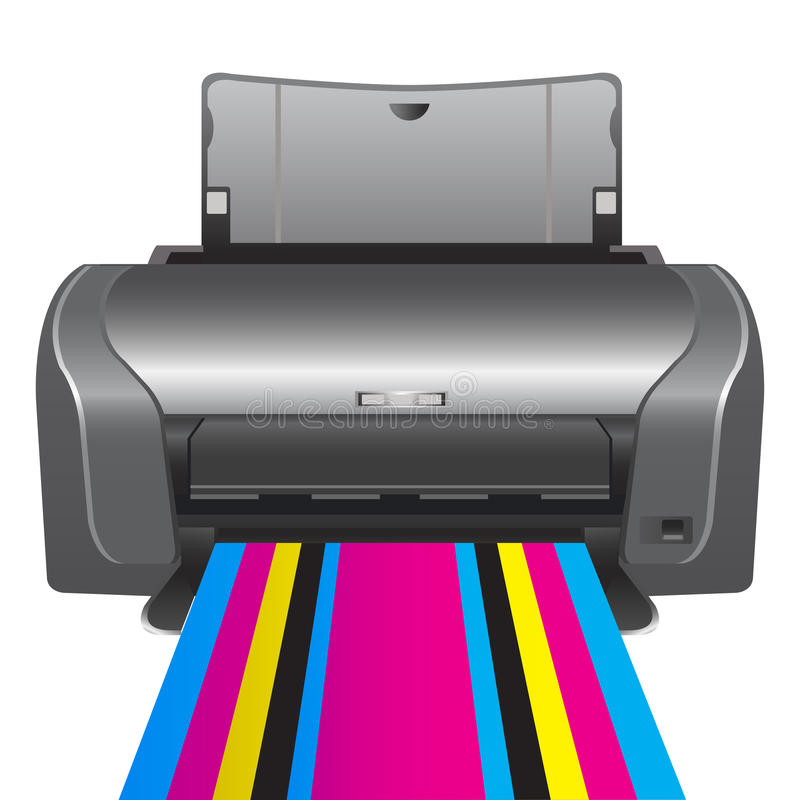 Drukarka. chromatyczny druk ilustracji