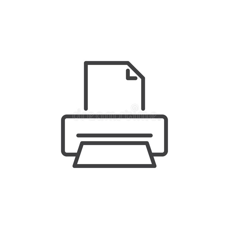 Drukarka drukowego papieru linii ikona ilustracja wektor