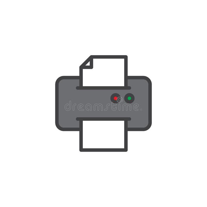 Drukarka druku dokumentu konturu papier wypełniająca ikona ilustracji